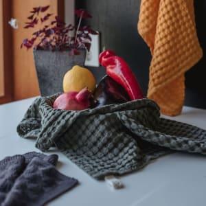 UND Kjøkkenhåndkle Vaffel Tencel Oliven