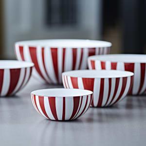 Cathrineholm emaljeskål Stripes rød alle str