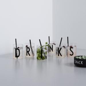 design letters drikkeglass A-Z