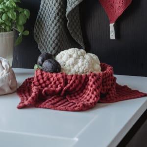 UND Kjøkkenhåndkle Vaffel Tencel Rust