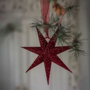 UND Adventstjerne Mini Velur Rubinrød 20cm