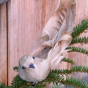 UND Julepynt m/klype Krøllfjær fugl Beige