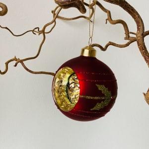 UND Julekule Vintage Rød Matt 4 stk