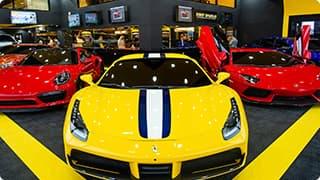 A yellow sports car
