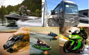 Collage of motor boats, RV and Motorcycle