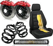 Two brake disc, two suspensions spring, a racing car seat and led lights