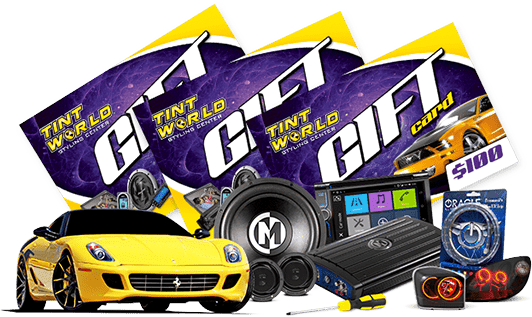 Tint World gift cards, car accessories and yellow high end vehicle.