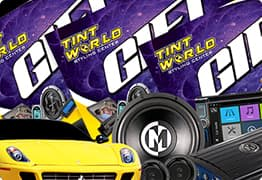 Tint World gift cards, car accessories and yellow sports car.