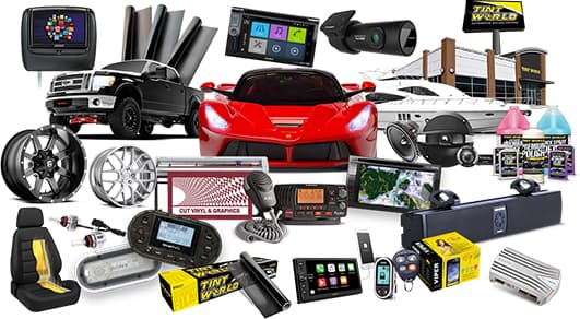 Sports car, pick up truck, and Tint World car accessories.