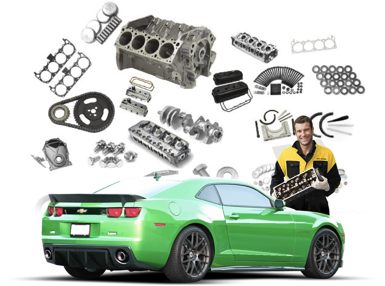 Sports car with parts