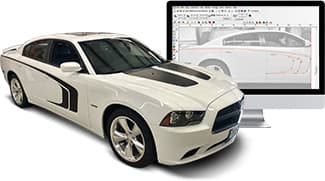 A sports car and iMac