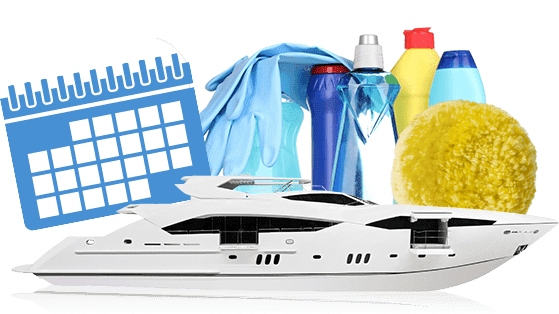 Yacht with cleaning supplies