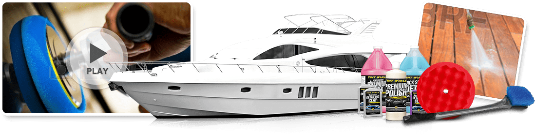 Yacht with cleaning supplies and video
