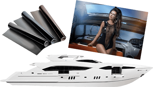 Yacht and tinting material
