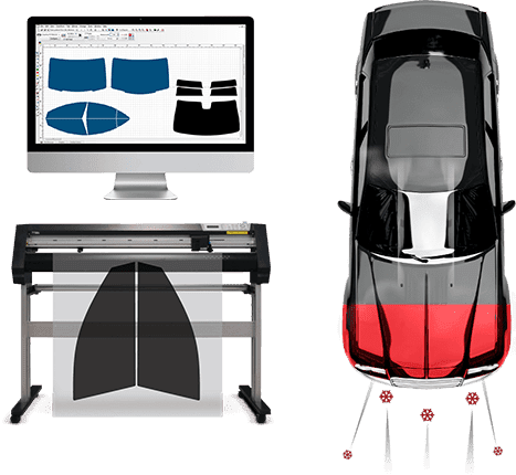 Mac desktop, film machine and black car