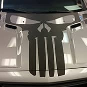 Punisher logo on hood of car