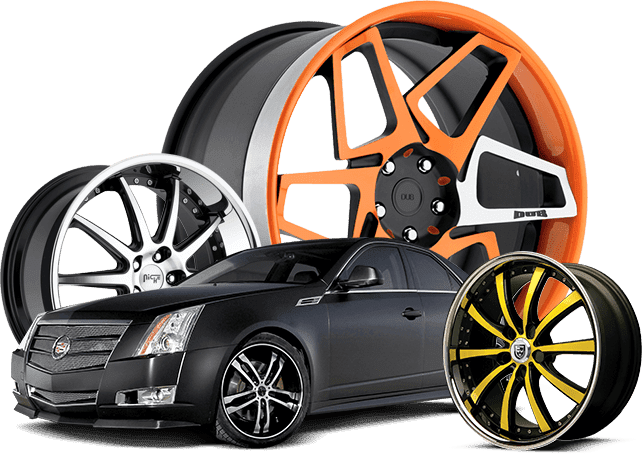 Black high end car and three colored rims