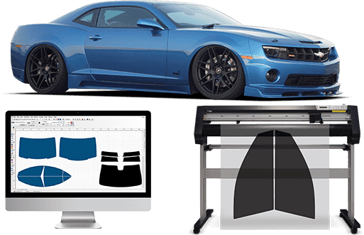 Blue sports car with window tint machine