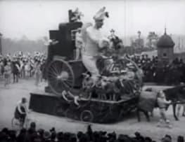 Paris, cortège du boeuf gras: Char du prince du carnaval