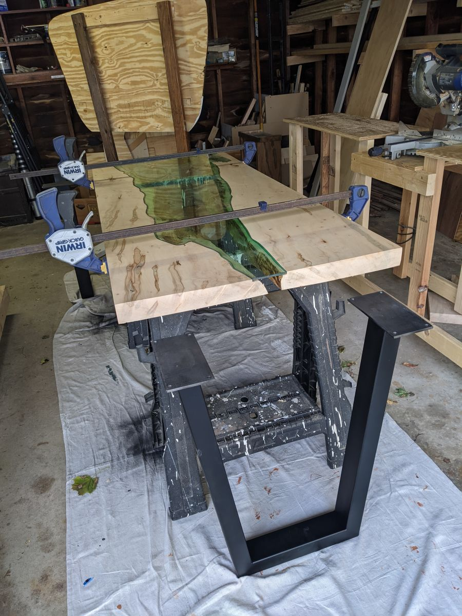 Table next to the legs