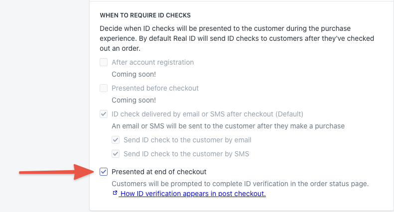 Enabling the ID verification prompt in the settings page