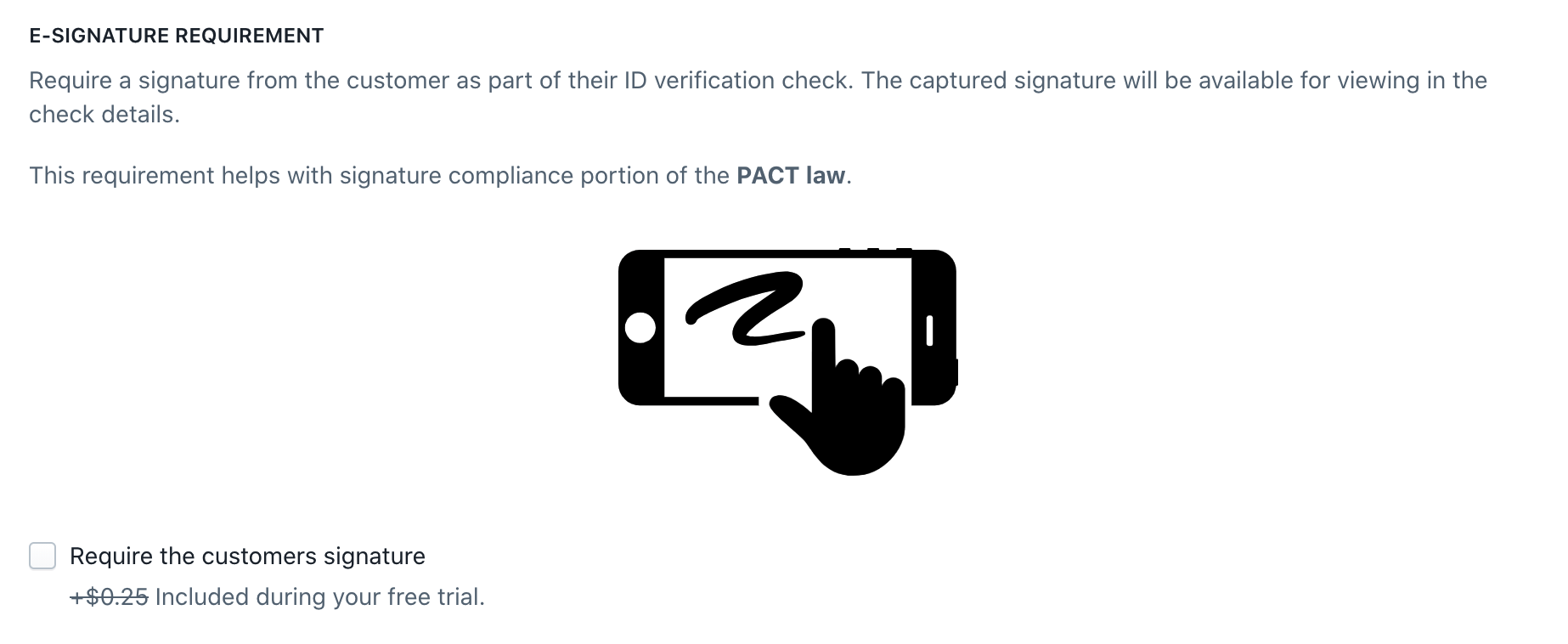 Enabling the signature requirement in the new check page