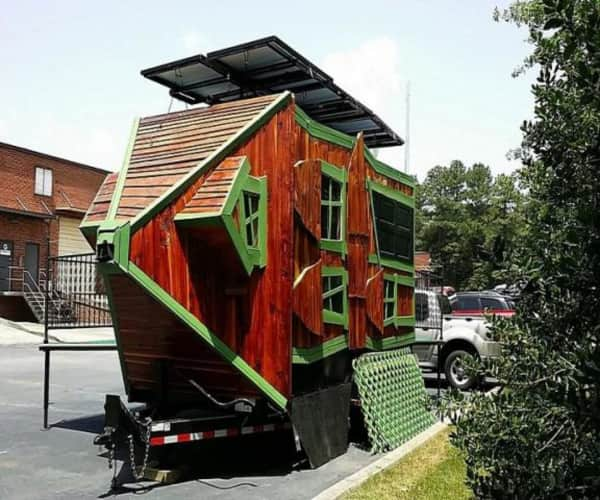 solar powered tiny house. Solar Powered Tiny House On Wheels With Stage/Deck \u2013 For Mobile Concession Or Sustainable Lifestyle Living. H