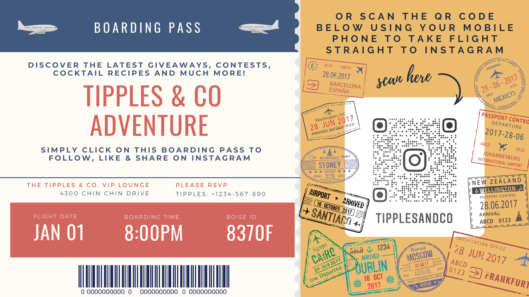 Tipples And Company boarding pass to our Instagram page - Follow, Like and Share to find out our latest giveaways, competitions, cocktail recipes, new drinks launches, new products and services and much more!