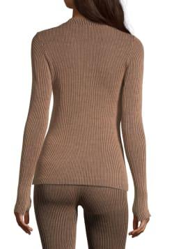 Wool Rib Long Sleeve – Black Beige Rib