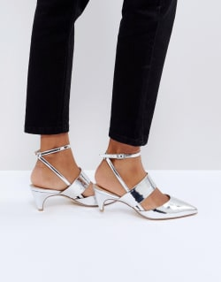 8d7a4f9fdad1 Office - Maple - Schuhe mit Kitten-Heel-Absatz, Metallic - Silber