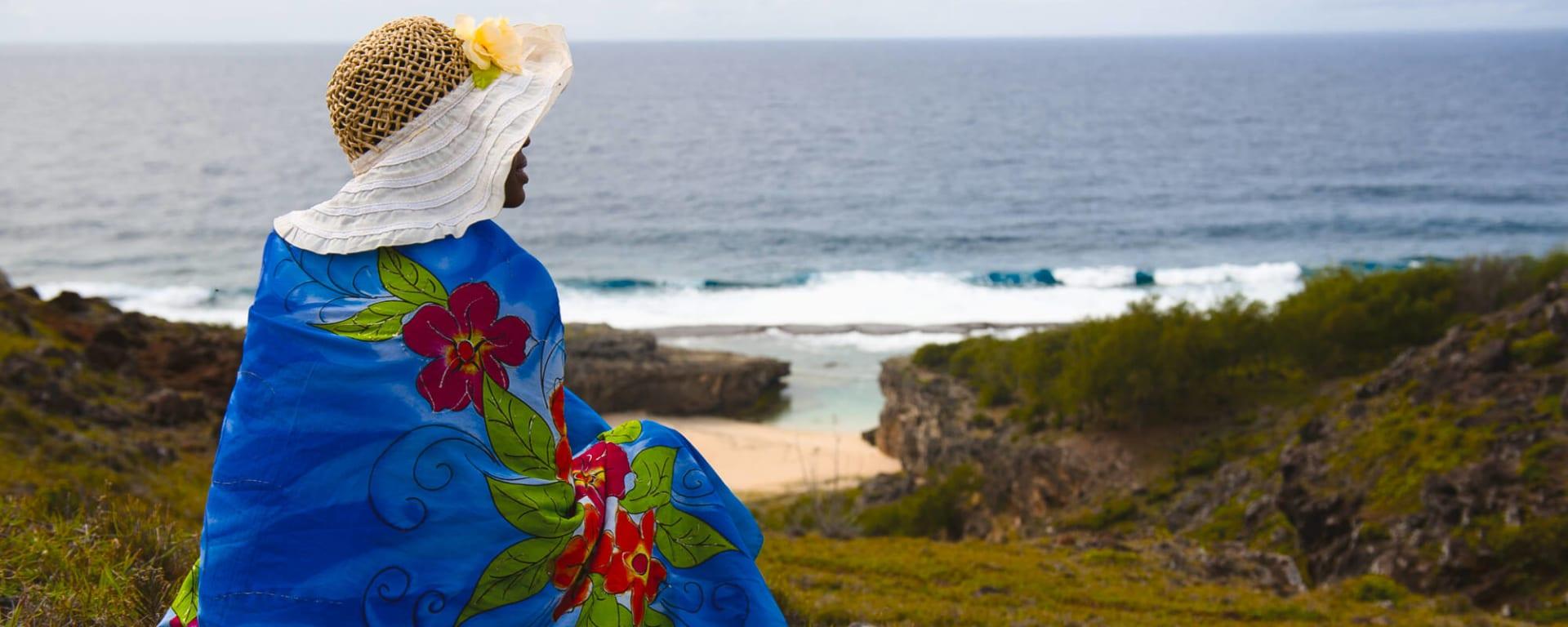 Rodrigues entdecken mit Tischler Reisen: Rodrigues Insel Frau mit Hut