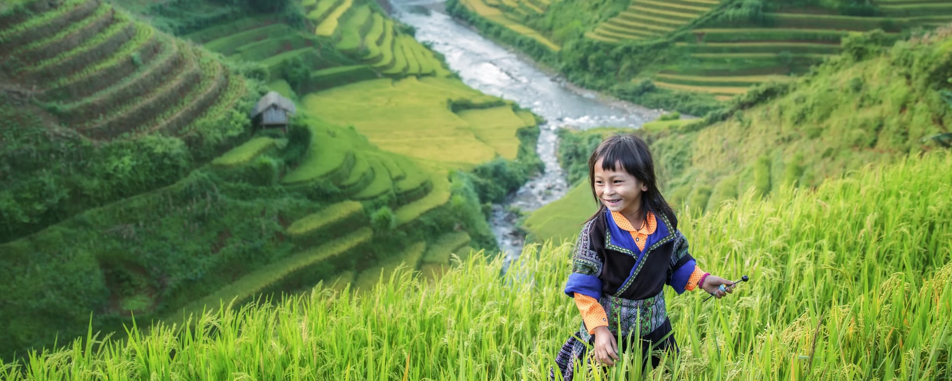 Laos entdecken mit Tischler Reisen: Laos Reisterrassen Maedchen