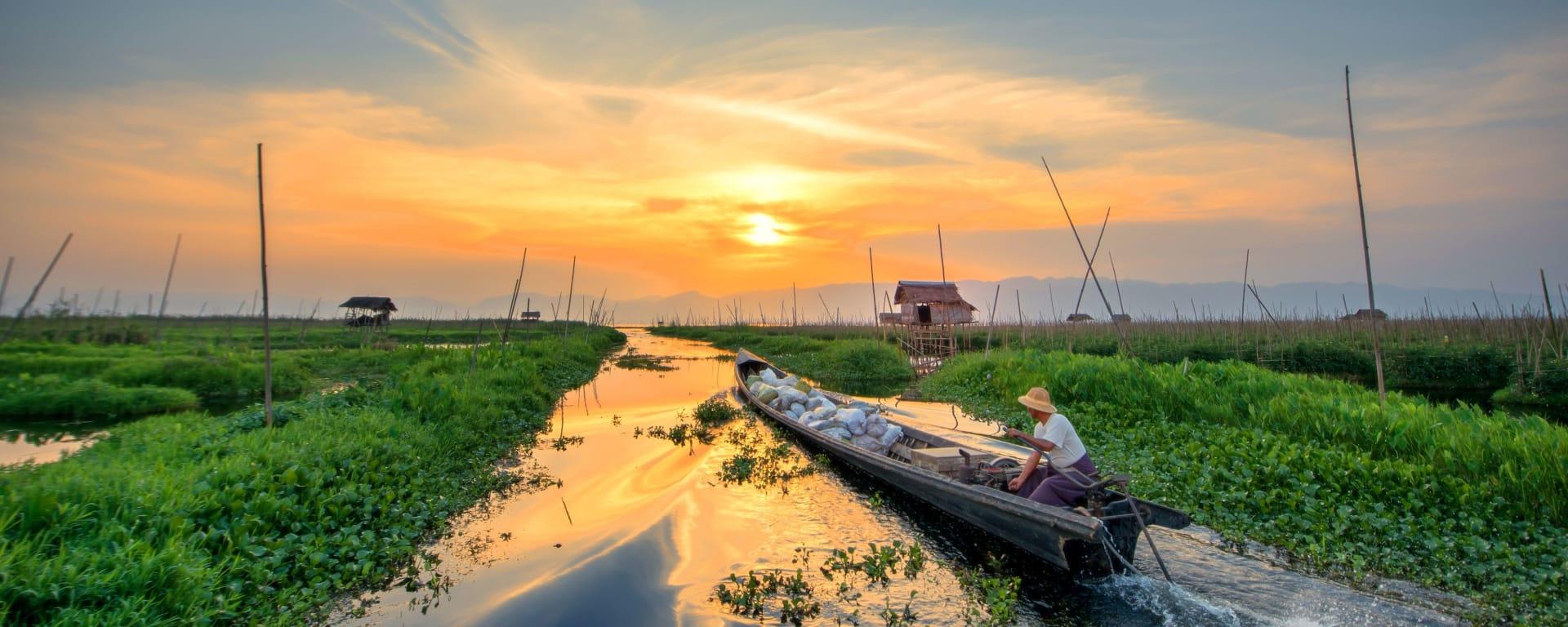 Myanmar entdecken mit Tischler Reisen: Myanmar Inle See Fischer Sonnenuntergang
