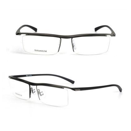 semi rimless grey titanium eyeglasses frames