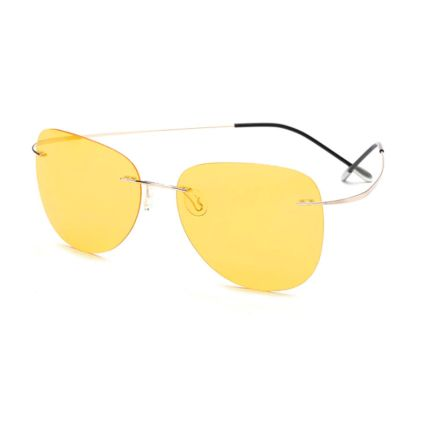 memory metal rimless sunglasses