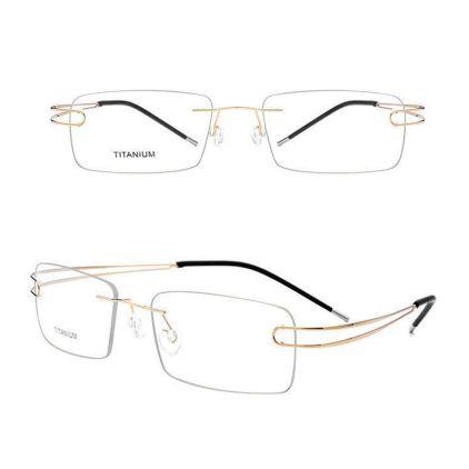 titanium memory metal rimless eyeglasses frames