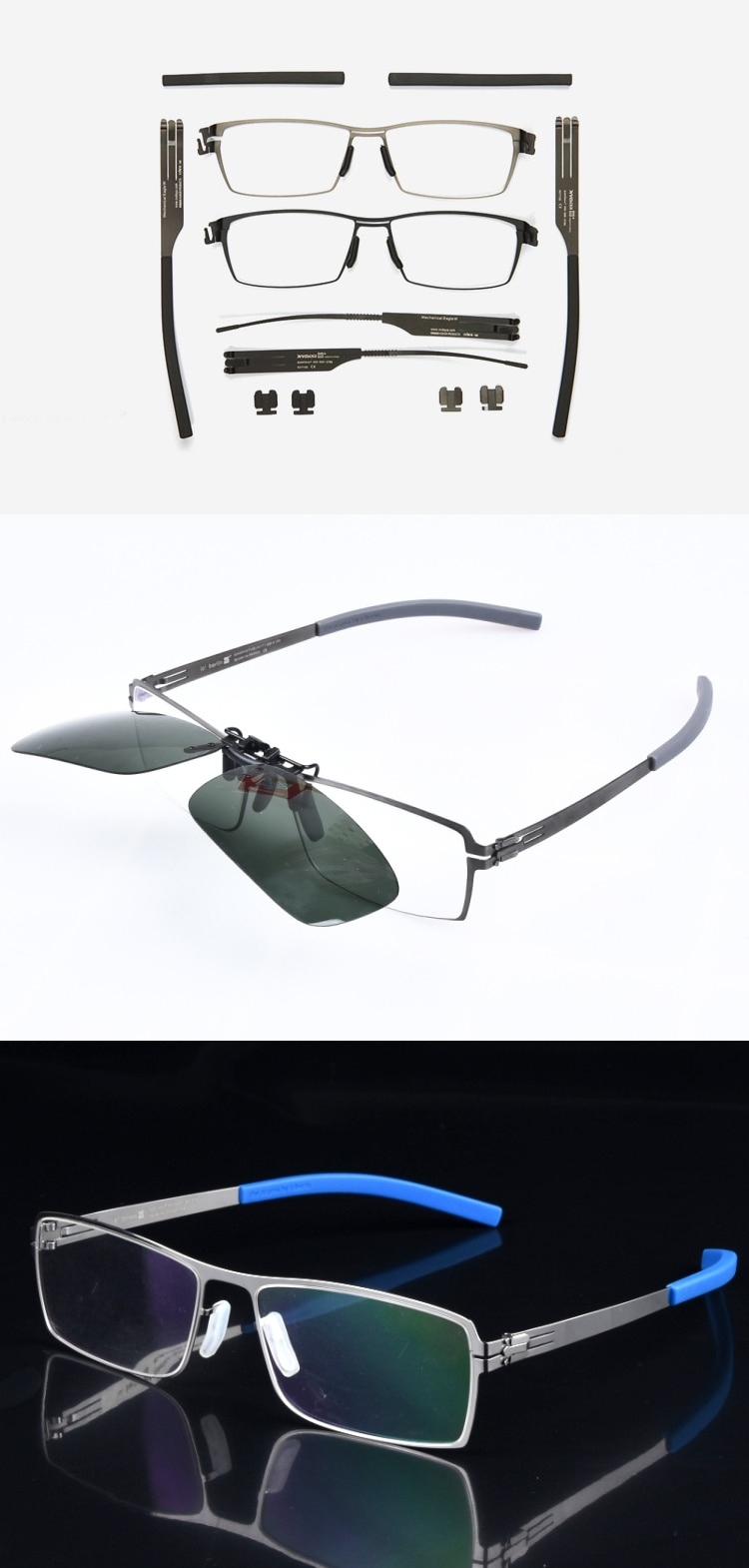 metal eyeglasses frames screwless hingeless