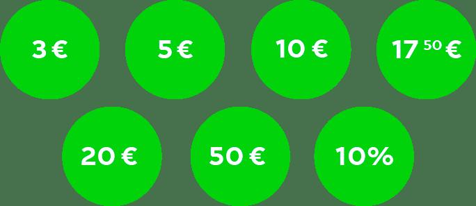 3 €, 5 €, 10 €, 17.50 €, 20 €, 50 €  und 10% Rabattł