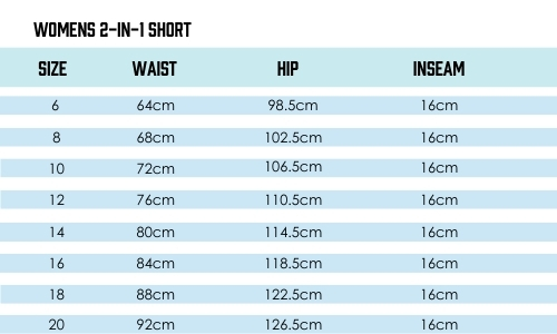 TMR 2 in 1 Shorts Size Guide