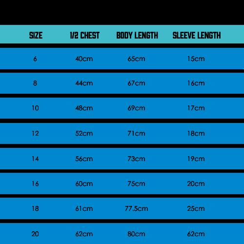 TMR Running Tee Size Guide