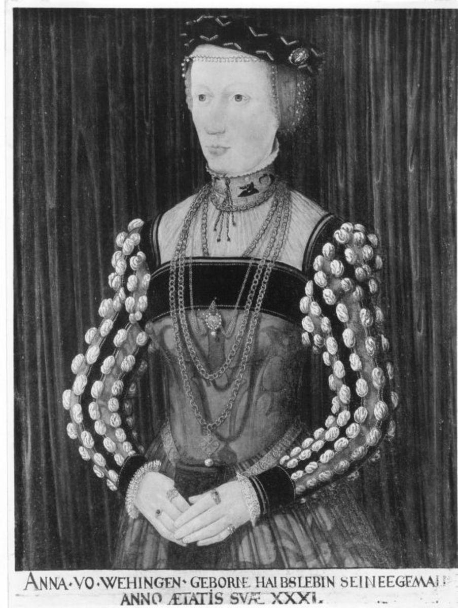 Bildnis der Anna von Wehingen Rückseite: Wappen