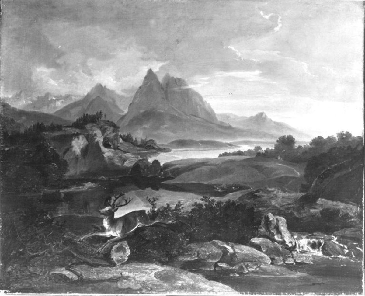 Gebirgslandschaft mit fliehendem Hirsch