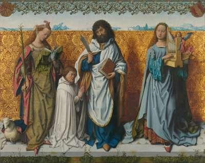 Bartholomäusaltar: Die hll. Agnes, Bartholomäus, Caecilia und ein Stifter