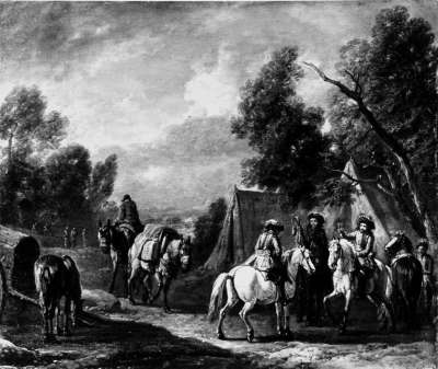 Parlamentäre vor einem Zelt