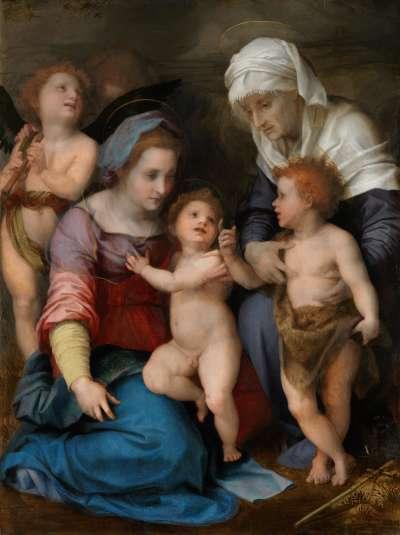 Heilige Familie (Maria mit Kind, dem Johannesknaben, der hl. Elisabeth und zwei Engeln)