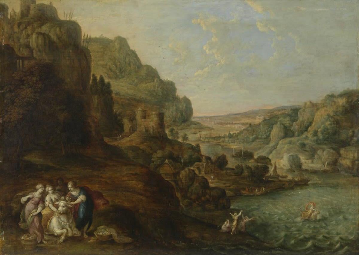 Küstenlandschaft mit Entführung der Europa (mit Staffagefiguren von Frans Francken II)