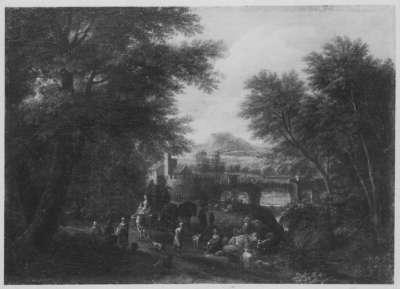 Landschaft mit Bogenbrücke