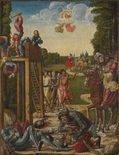 Martyrium der thebaischen Legion und Tod des hl. Gereon (Innenseite: Hll. Stephanus und Mauritius)