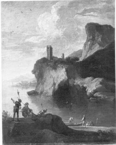 Meeresbucht mit Burgruine