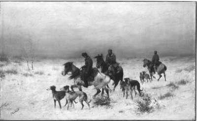 Jagdgesellschaft in Winterlandschaft